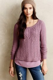 Cabled Ella Pullover in purple at Anthropologie