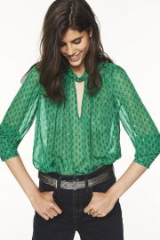 Cabri Printed Blouse by Ba&sh worn by Catherine Reitman on BlackAF at Bash