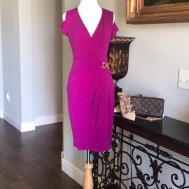 Cache Cold Shoulder Faux Wrap Dress at Poshmark