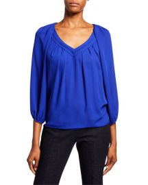 Cahil Pleated Balloon-Sleeve Top at Last Call