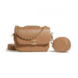 Calfskin & Gold-Tone Metal Beige Flap Bag & Coin Purse at Chanel