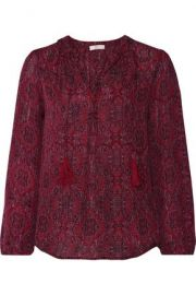 Calla tasseled printed silk blouse red at The Outnet