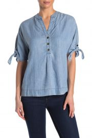 Calle Ocho Chambray Tie Sleeve Top by Trina Turk at Nordstrom Rack