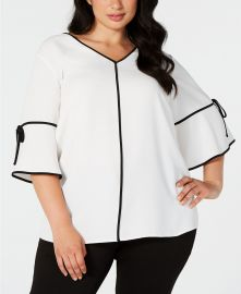 Calvin Klein Plus Size Piped-Trim Top   Reviews - Tops - Plus Sizes - Macy s at Macys