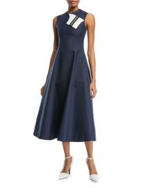 Calvin Klein 205W39NYC Sleeveless Fit-and-Flare Tea-Length Dress with Striped Foldover at Bergdorf Goodman