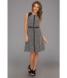 Calvin Klein A-line Dress w Faux Leather Trim BlackWhite at 6pm