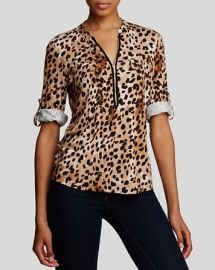 Calvin Klein Animal Print Zip Front Knit Blouse at Bloomingdales