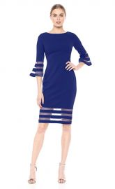 Calvin Klein Bell Sleeve Sheath with Sheer Inserts Dress at Amazon