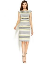Calvin Klein Belted Stripe Sheath Dress in Yellow at Macys