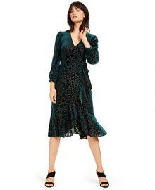Calvin Klein Burnout Velvet Animal-Print Wrap Dress   Reviews - Dresses - Women - Macy s at Macys