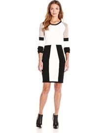 Calvin Klein Color-Block Long-Sleeve Sweater Dress at Amazon