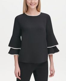 Calvin Klein Contrast-Trim Bell-Sleeve Blouse   Reviews - Tops - Women - Macy s at Macys