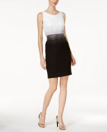 Calvin Klein Embellished Contrast Sheath Dress at Macys