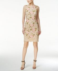 Calvin Klein Embroidered Lace Sheath Dress at Macys