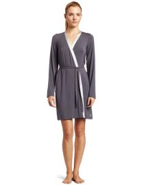Calvin Klein Essentials With Satin Long Sleeve Short Robe at Amazon