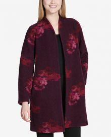Calvin Klein Floral-Print Cardigan   Reviews - Sweaters - Women - Macy s at Macys