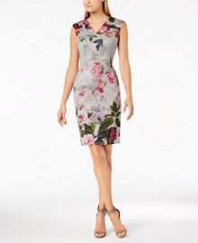 Calvin Klein Floral-Print V-Neck Sheath Dress   Reviews - Dresses - Women - Macy s at Macys
