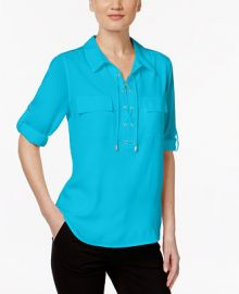 Calvin Klein Lace-Up Roll-Tab Blouse at Macys
