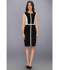 Calvin Klein Lux Colorblock Sheath BlackIvoryKhaki at 6pm