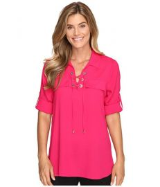 Calvin Klein Modern Essential Lace-Up Blouse at Amazon