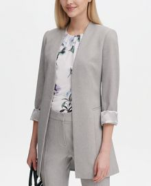 Calvin Klein Open-Front Twill Topper Jacket   Reviews - Jackets   Blazers - Women - Macy s at Macys