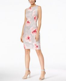Calvin Klein Petite Floral-Print Scuba Sheath Dress   Reviews - Dresses - Women - Macy s at Macys