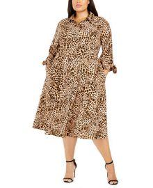 Calvin Klein Plus Size Animal-Print Shirtdress   Reviews - Dresses - Plus Sizes - Macy s at Macys