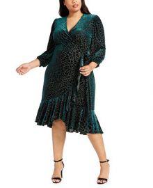 Calvin Klein Plus Size Burnout Velvet Wrap Dress   Reviews - Dresses - Plus Sizes - Macy s at Macys