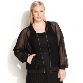 Calvin Klein Plus Size Long-Sleeve Mesh Bomber Jacket at Macys