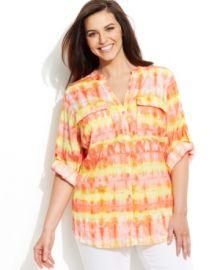 Calvin Klein Plus Size Printed Utility Shirt in rose combo at Macys