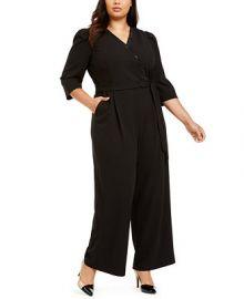 Calvin Klein Plus Size Surplice Jumpsuit   Reviews - Dresses - Plus Sizes - Macy s at Macys