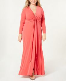 Calvin Klein Plus Size Twist-Front Maxi Gown   Reviews - Dresses - Women - Macy s at Macys
