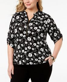 Calvin Klein Plus Size Zip-Front Shirt   Reviews - Tops - Plus Sizes - Macy s at Macys
