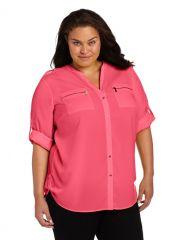 Calvin Klein Plus Zip Pocket Blouse at Amazon