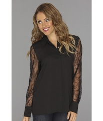 Calvin Klein Poly CDC Top WLace Sleeves Black at 6pm