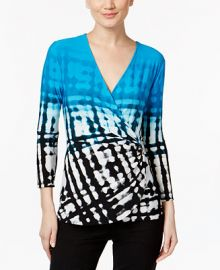 Calvin Klein Printed Faux-Wrap Top at Macys