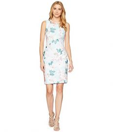 Calvin Klein Printed Sheath Dress w/ Pearls at the Neck at Zappos
