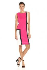 Calvin Klein Sleeveless Round Neck Color Block Sheath  at Amazon