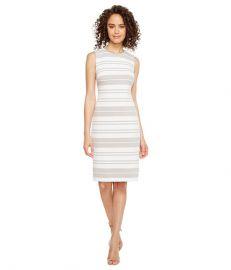 Calvin Klein Stripe Ponte Sheath Dress at Zappos