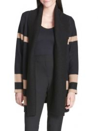 Calvin Klein Striped Long-Sleeve Wool Blend Cardigan at Saks Off 5th