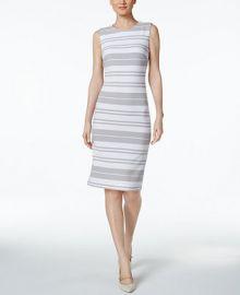 Calvin Klein Striped Ottoman-Knit Sheath Dress at Macys