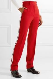 Calvin Klein Striped wool-twill straight-leg pants at Net A Porter
