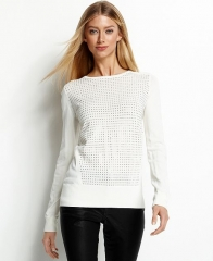 Calvin Klein Sweater Long-Sleeve Stud Crew-Neck in white at Macys