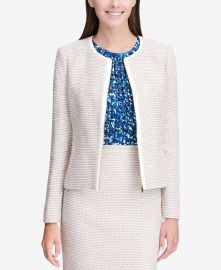 Calvin Klein Tweed Zip Up Jacket at Macys