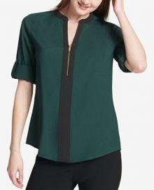 Calvin Klein Two-Tone Zip Blouse Women -  Tops - Macy s at Macys