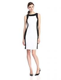 Calvin Klein Women s Color-Block Knit Sheath Dress at Amazon