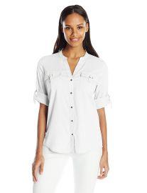 Calvin Klein Women s D-Ring Pocket Blouse at Amazon