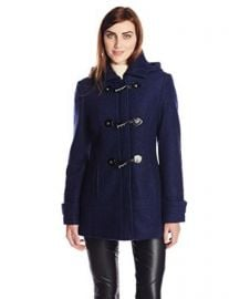 Calvin Klein Womenand39s Boucle Wool Coat with Toggles Indigo X-Small at Amazon