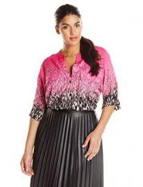 Calvin Klein Womenand39s Plus-Size Print Crew Neck Roll Sleeve Top at Amazon