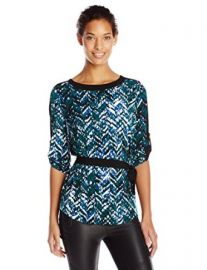Calvin Klein Womenand39s Printed HighLow Tunic with Belt at Amazon
